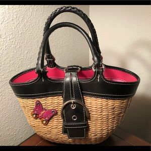 Coach Straw tote with butterfly